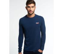 Herren Vintage Embroidery Long Sleeve T-Shirt marineblau
