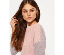 Damen Colour Block Rippstrickpulli pink