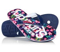 Damen Allover-Print Flip Flops marineblau