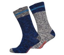 Herren Big Mountaineer Socken im 2er-Pack marineblau gemustert/kobaltblau gemustert