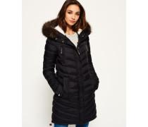Damen Chevron Fur Super Fuji Jacke schwarz