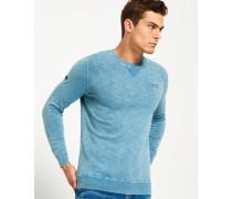 Herren Stückgefärbter L.a. Pullover mit Rundhalsausschnitt blau