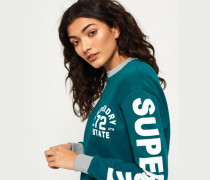 Damen Sweatshirt mit Rundhalsausschnitt und Logo auf den Ärmeln grün