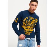 Herren World Tour Sweatshirt mit Rundhalsausschnitt öl waschung marineblau