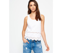 Damen Beach Broderie Shell Top weiß