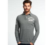 Herren Super State Langarm-Polohemd grau