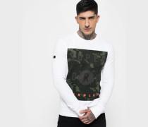 Herren Surplus Goods Langarm-T-Shirt mit Grafik weiß