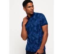 Herren City Jersey-Polohemd mit durchgehendem Print blau