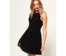 Damen Flocked Samt-Skaterkleid schwarz