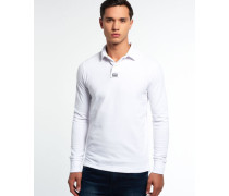 Herren Langärmliges Classic Piqué Polo-Shirt weiß