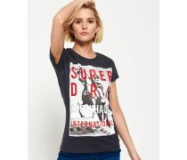 Damen Kopenhagen T-Shirt mit großem Fotoprint schwarz
