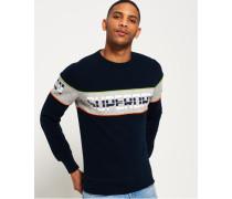 Herren Rundhals-Sweatshirt mit Retrostreifen marineblau