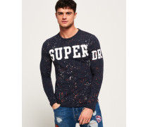 Herren Super Splatter Langarm-T-Shirt marineblau