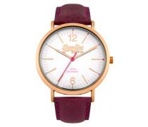 Damen Oxford Leder Armbanduhr lila