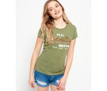 Damen Vintage Logo T-Shirt mit Paillettenbesatz grün