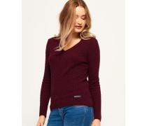 Damen Luxe Mini Pullover mit Zopfmuster und V-Ausschnitt lila