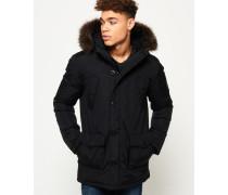 Herren Everest Mantel mit Kunstfellbesatz schwarz