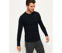 Herren NY Langarm-T-Shirt mit Prägung marineblau