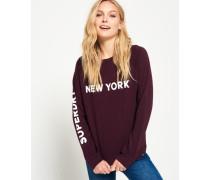 Damen New York City Pullover mit Rundhalsausschnitt lila