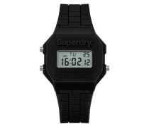 Damen Mini Retro Digi Colour Block Armbanduhr schwarz