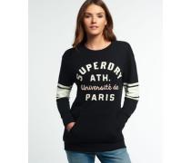 Damen Appliqué Crew Sweatshirt mit Tasche schwarz