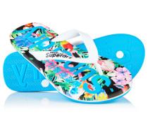 Damen Allover-Print Flip Flops blau