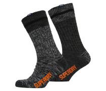 Herren Big Mountaineer Socken im 2er-Pack anthrazit/grau gemustert
