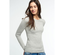 Damen Luxe Wollpullover mit Rippstrick grau
