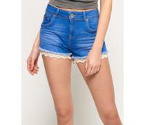 Damen Hot Shorts mit Spitzenbesatz blau