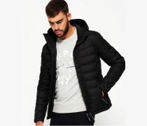 Herren Fuji Tweed-Kapuzenjacke mit Doppelreißverschluss schwarz