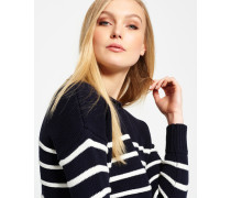 Damen Marine Stripe Slouch Strickpulli marineblau
