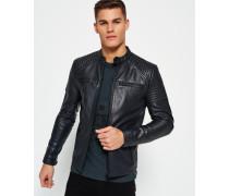 Herren Leather Quilt Racer Jacke schwarz