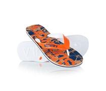 Herren Cork Hibiscus Flip Flops orange