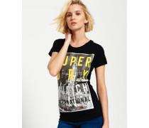 Damen Munich T-Shirt mit großem Fotoprint schwarz