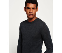 Herren Call Sheet Merino Button Crew Pulli grau