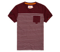 Herren Solent Stripe Pocket T-Shirt rot