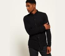 Herren Jersey Hemd mit Struktur schwarz