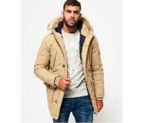 Herren Everest Mantel mit Kunstfellbesatz hellbraun