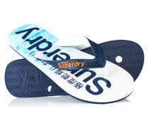 Herren Allover-Print Flip Flops blau