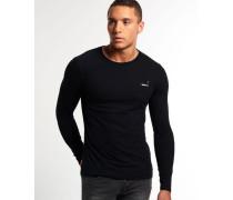 Herren Vintage Embroidery Long Sleeve T-Shirt schwarz