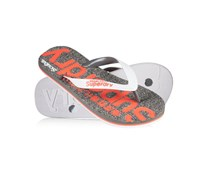 Damen Scuba Flip Flops grey fleck marl/optic/fluro coral