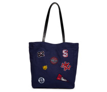 Damen Kinlie Einkaufstasche mit Aufnähern marineblau