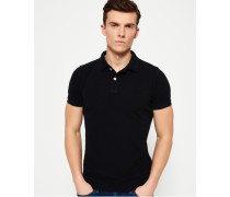 Herren Vintage Destroyed Piqué Polo-Shirt schwarz