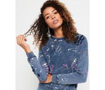 Damen Punk Sweatshirt mit Rundhalsausschnitt und Farbspritzer-Print blau
