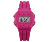 Damen Mini Retro Digi Colour Block Armbanduhr pink