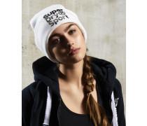 Damen Fold Sport Beaniemütze weiß