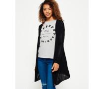 Damen Rayon Cardigan mit Kapuze schwarz