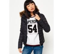 Damen Fuji Slim Kapuzenjacke mit Doppelreißverschluss schwarz