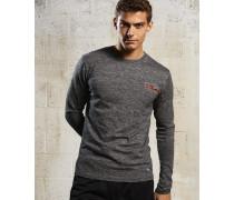 Herren Sport Label Langarm-T-Shirt Grey