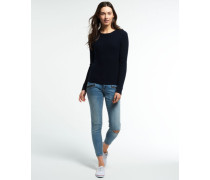 Damen Luxe Mini Cable Pullover marineblau